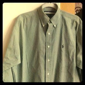 Men's Green and White Dress Shirt by Ralph Lauren